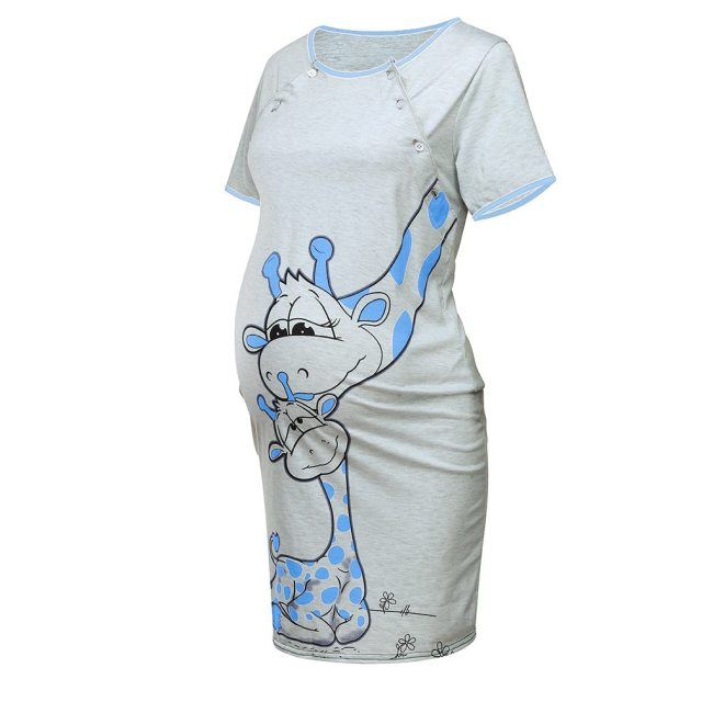 LONSANT Maternity Dress Women Cartoon Print Short sleeve Nightdress cotton Pregnant casual clothes summer Maternity Dress 2
