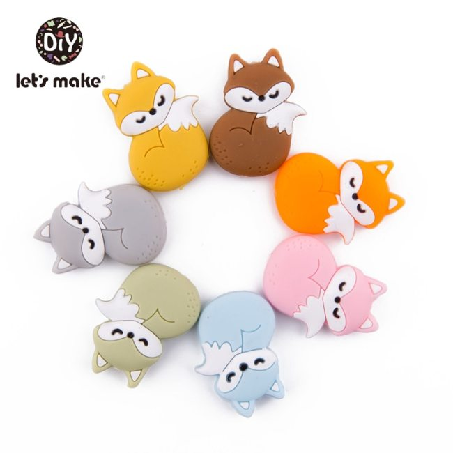 Let s Make Silicone Beads Teething Cartoon Fox Beads Animals 5pcs DIY Pacifier Clip For Children