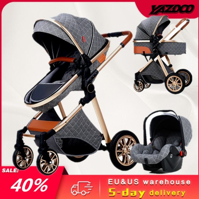 Multi functional 2 in 1 Baby Stroller High landscape Can Sit Reclining Light Folding Two way 6