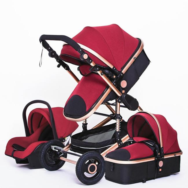 Multifunctional 3 in 1 Baby Stroller luxury Portable High Landscape 4 Wheel Stroller Folding Carriage Gold