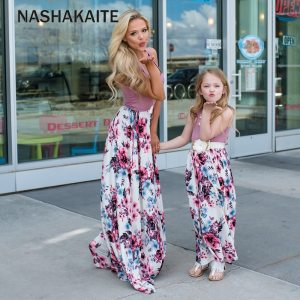 NASHAKAITE Mom and daughter dress Family matching clothes Floral Printed Long Dress For Mother Daughter Mommy 1