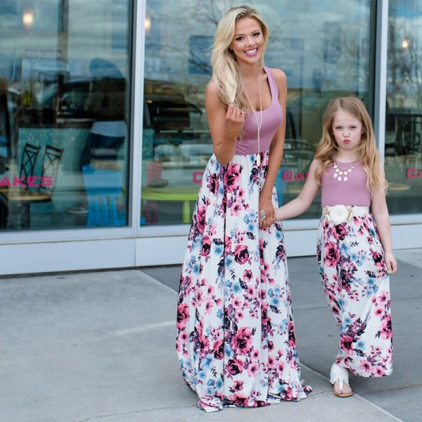 NASHAKAITE Mom and daughter dress Family matching clothes Floral Printed Long Dress For Mother Daughter Mommy 2
