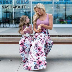 NASHAKAITE Mom and daughter dress Family matching clothes Floral Printed Long Dress For Mother Daughter Mommy