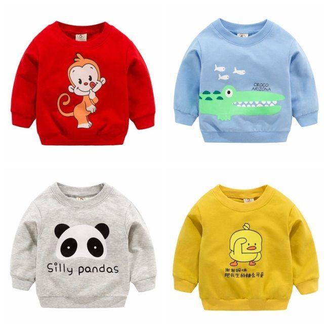 New Baby Boys Girls Sweatshirts Autumn Spring Cartoon Cotton Hoodies Tops Children Kids Long Sleeve T