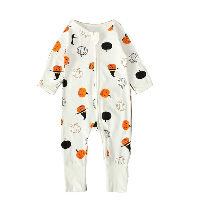 Newborn Infant XMAS Baby Girls Boys Zipper Rompers Fashion Halloween Pumpkin Print Jumpsuit Halloween Outfits Baby 1