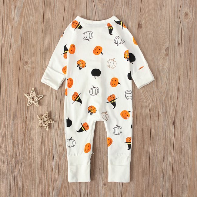 Newborn Infant XMAS Baby Girls Boys Zipper Rompers Fashion Halloween Pumpkin Print Jumpsuit Halloween Outfits Baby 2