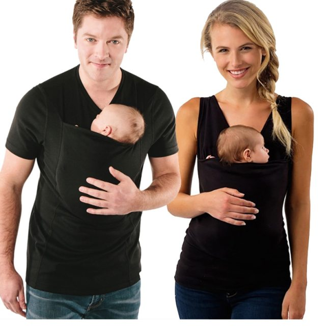 Plus Size S 5XL Baby Carrier Clothing Kangaroo T Shirt for Father Mother with Baby Short
