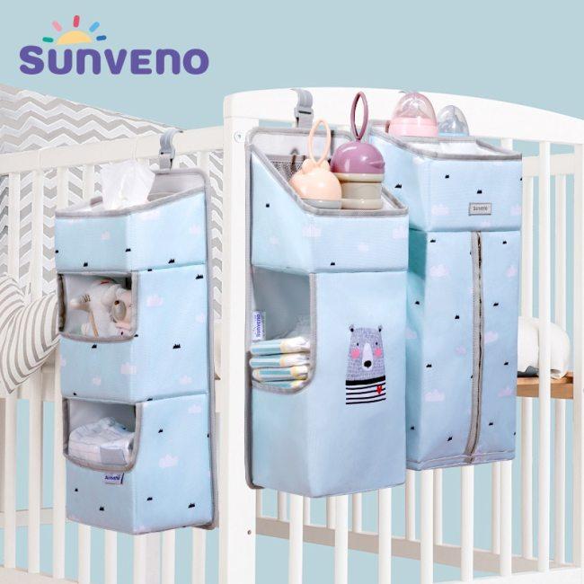 Sunveno Crib Organizer for Baby Crib Hanging Storage Bag Baby Clothing Caddy Organizer for Essentials Bedding