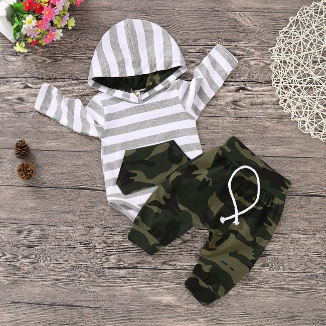 Toddler Baby boys clothes 3pcs Newborn Baby Infant Boys Hoodies Striped Romper Jumpsuit Camouflage Pants Outfits 1
