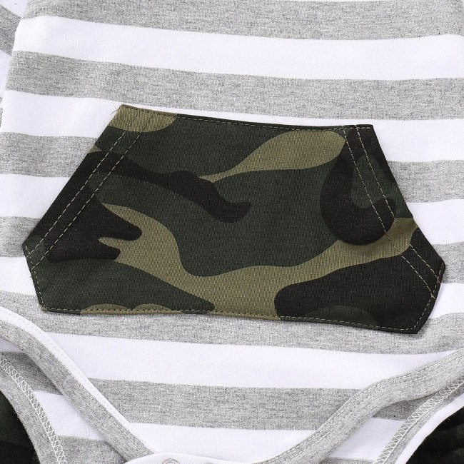 Toddler Baby boys clothes 3pcs Newborn Baby Infant Boys Hoodies Striped Romper Jumpsuit Camouflage Pants Outfits 4