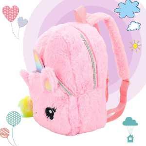 Unicorns Cartoon School Book Bag Girl Women Fur Backpack Kindergarten Cute Bag Travel Children Schoolbag Kids 1