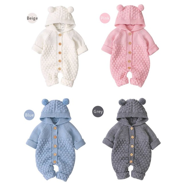 2020 Autumn Winter New Newborn Sweater Baby Clothes Romper Bear Ear Knit Hooded Jumpsuit Outfit Clothing 1