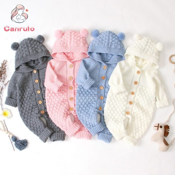 2020 Autumn Winter New Newborn Sweater Baby Clothes Romper Bear Ear Knit Hooded Jumpsuit Outfit Clothing