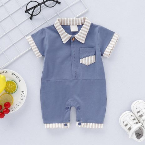 Baby Boy Girl Rompers Turn down Collar Infant Newborn Cotton Clothes Jumpsuit For 0 2Y Toddlers 2