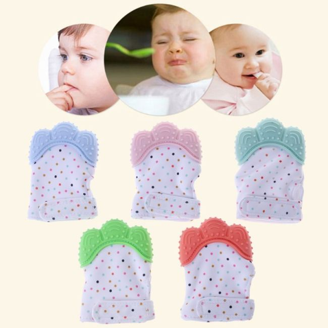 Baby Teether Gloves Squeaky Grind Teeth Oral Care Teething Pain Relief Newborn Bite Chew Sound Toys 1