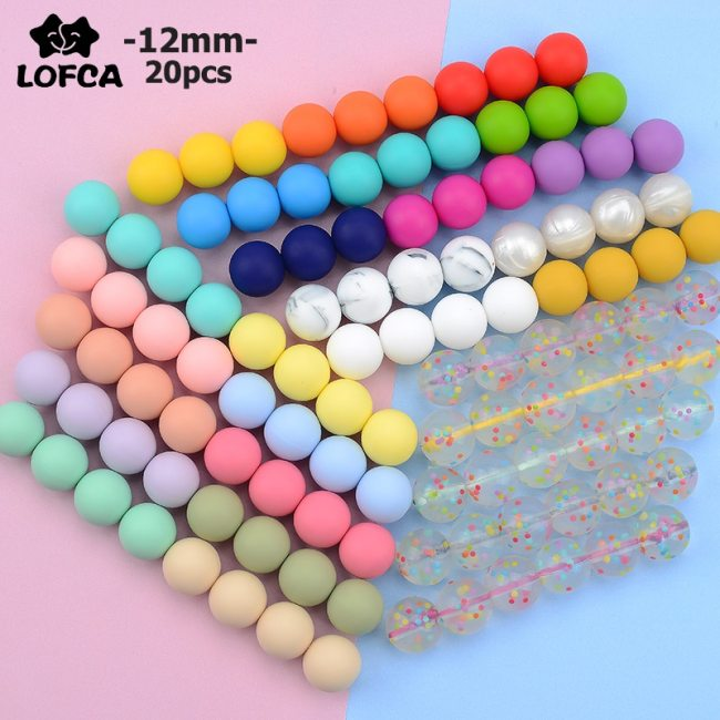 LOFCA 12mm 20pcs lot Silicone Loose Beads Teething Beads DIY Chewable Colorful Teething For Infant Baby