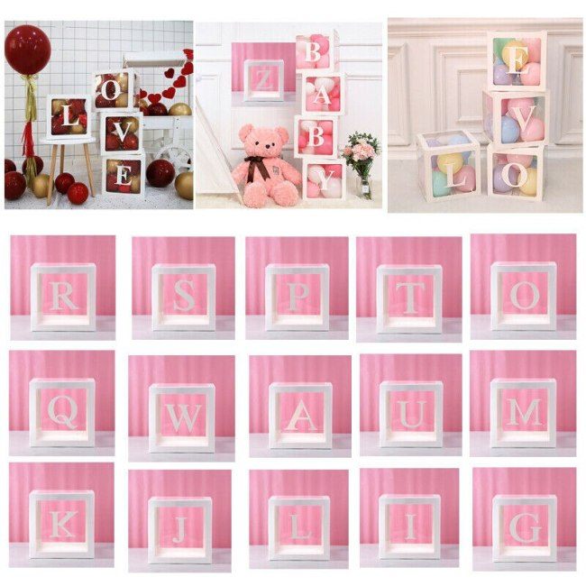 Letter A Z Cube Transparent Gift Boxes Kid Birthday Baby Shower Party Home Decor Wedding Favor 2
