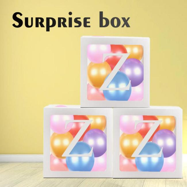 Letter A Z Cube Transparent Gift Boxes Kid Birthday Baby Shower Party Home Decor Wedding Favor