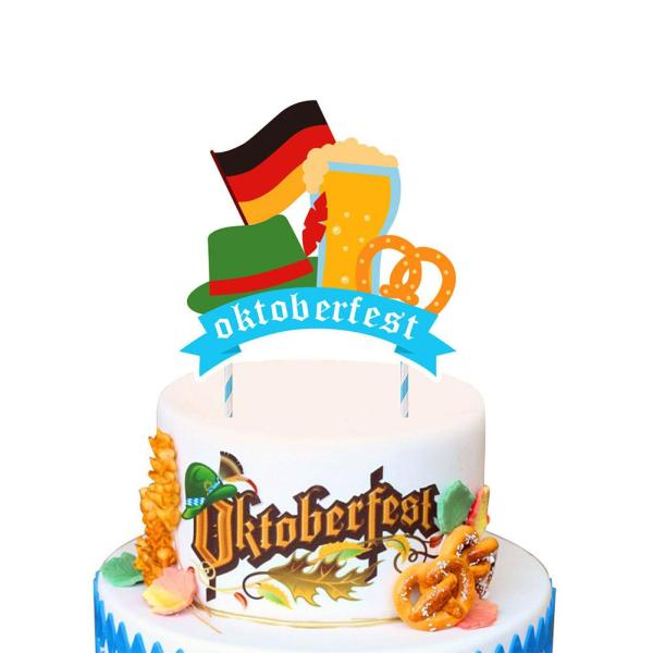 Oktoberfest Festival Party Balloons Props Oktoberfest Banner Flags Cake Topper for Beer Party Supplies Baby Shower 5