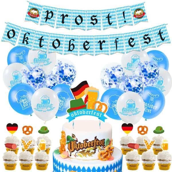 Oktoberfest Festival Party Balloons Props Oktoberfest Banner Flags Cake Topper for Beer Party Supplies Baby Shower