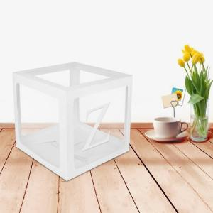 Plastic Balloon Box Letter A Z Sticker Boxes Transparent Cube Gift Organizer For Baby Shower Wedding 1