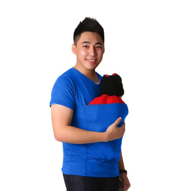 Safety Kangaroo Pocket Tshirt Baby Carrier Pregnancy Clothes Summer Short sleeve Father T shirt for Big 5