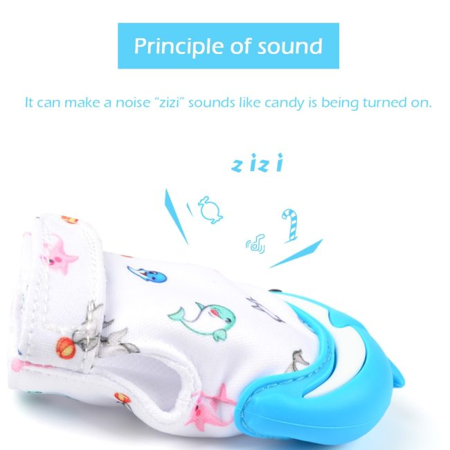 Silicone Teether 1pc Animal Dolphin Baby Teething Glove Panda Wrapper Sound Teething Chewable beads Newborn Toddler 4