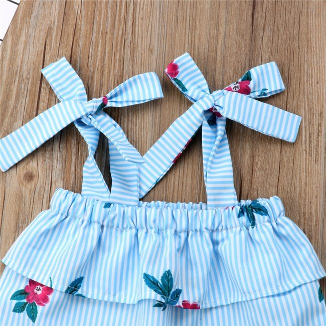 Summer Family Matching Mother Daughter Floral Print Striped Sleeveless Tops Hole Pants Clothes Mom Girl Kid 3
