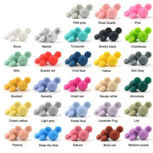 Wholesale 10pcs lot Mouse Baby Teething Beads Cartoon Silicone Beads For Necklaces BPA Free Teether Toy 1