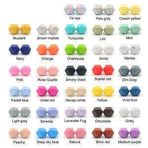 LOFCA10pcs 14mm Mini Hexagon silicone beads Baby Teether BPA Free DIY Necklace Pacifier Chain Baby Teething 1