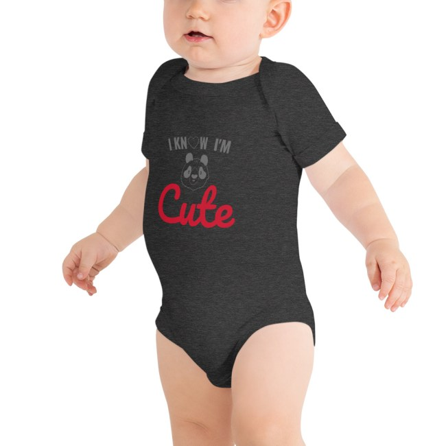 baby short sleeve one piece dark grey heather 5fef72aa4b43f