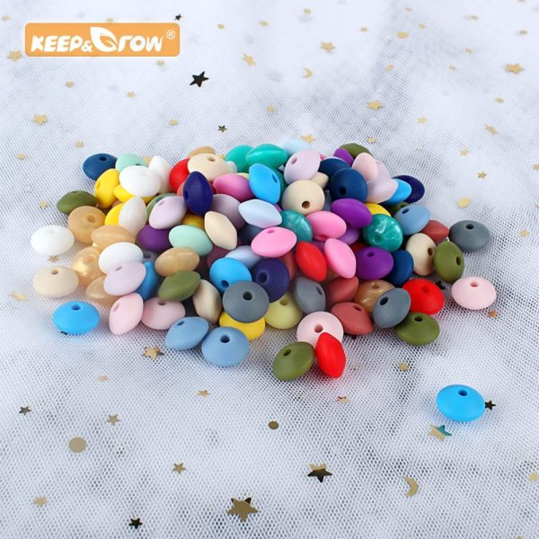keep grow 50pcs Lentil Silicone Beads 12mm Food Grade Rodent DIY Baby Pendant Necklace Baby Teether