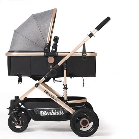 Baby Stroller 2 in 1Lightweight Baby Stroller High Landscape Baby Pram Baby Pushchair Can Sit Can 1