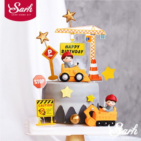 Engineering Construction Vehicle Decoration Traffic Sign Star Cake Topper for Birthday Party Baby Shower Baking Supplies