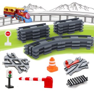 Railway Transport Assemble Big Building Blocks Track Set Compatible Toy Bricks Train Home Interactive Toys For