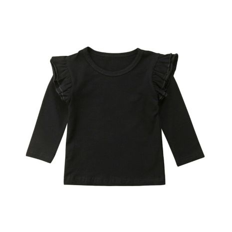 Kids Baby Girls Long Sleeve Blouse Tops Solid Casual Ruffle Blouse Shirt Tee Spring Autumn Toddler 4