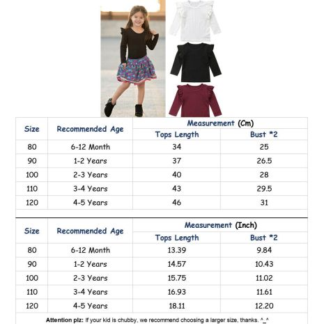 Kids Baby Girls Long Sleeve Blouse Tops Solid Casual Ruffle Blouse Shirt Tee Spring Autumn Toddler 5