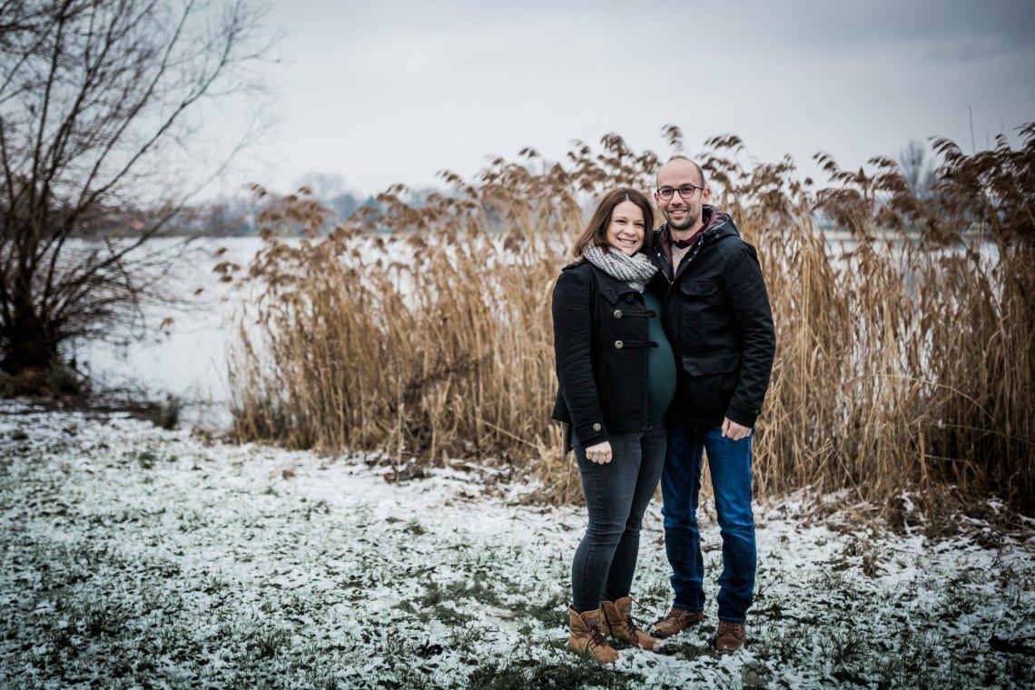 Reportage photos grossesse & neige en Alsace
