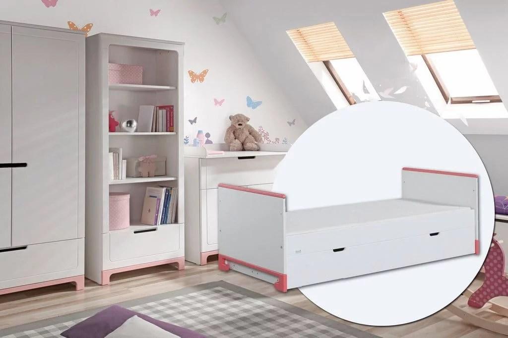 pinio mini rose fille 3 meubles lit 200x90 commode armoire 2 portes