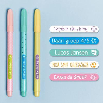 Mini Naamstickers (40 witte labels met gekleurde tekst)