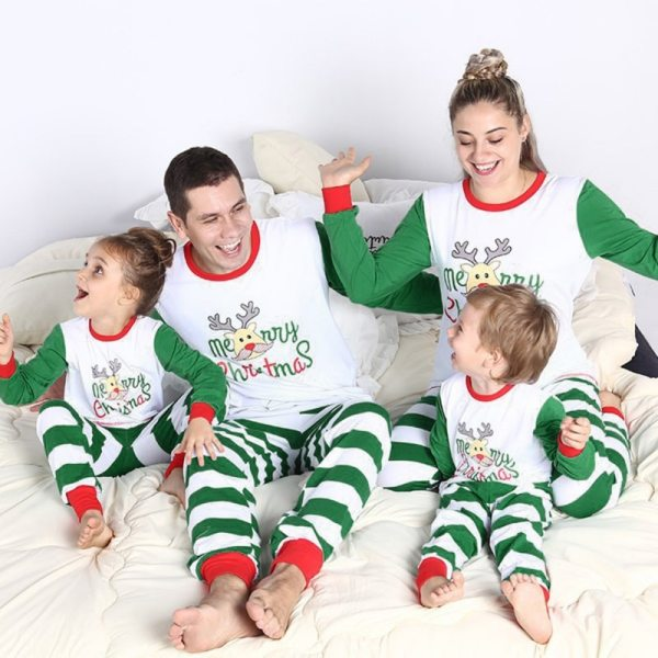 Green Family Pajamas Christmas Deer Printing Set Holiday Homewear T-Shirt+ Striped Trousers Daddy Mon Baby Size