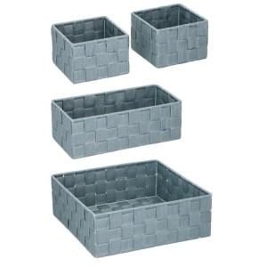 4x Badkamer/toilet/babykamer opberg mandjes grijs