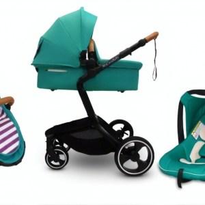 Mycosybaby kinderwagen 3-in-1 met reiswieg en autostoel groen