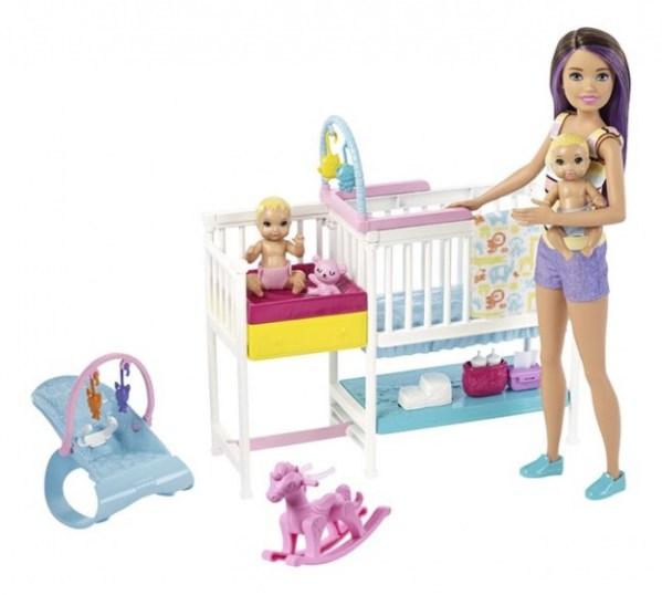 Barbie speelset Babysitter Skipper kinderkamer 10-delig