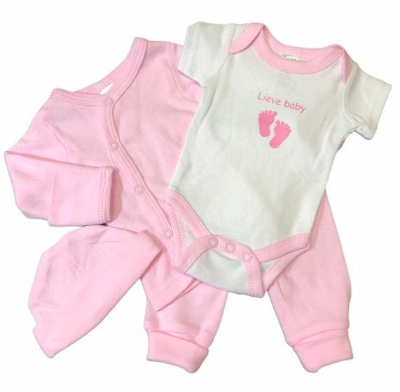 Soft Touch babykleding set Lieve baby roze 4-delig mt 50/56