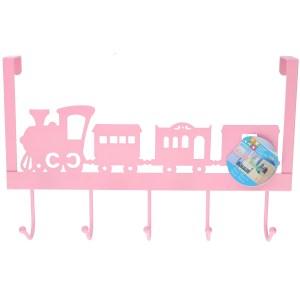 Roze kinderkamer deur kapstok treintje 28 x 31 x 9 cm