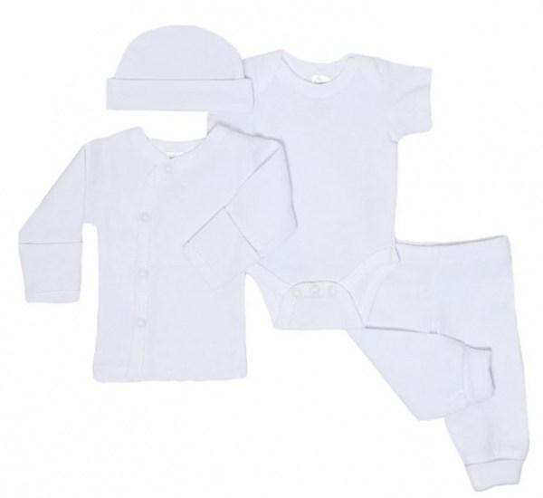 Soft Touch babykleding set katoen wit 4-delig mt 50/56