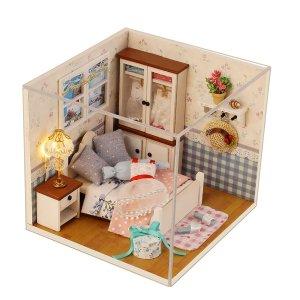 Handgemaakte doe-het-poppenhuis met gereedschapsset 3D-schaal miniatuur LED-verlichting kinderkamer voor kinderen cadeau woondecoratie