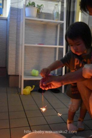 2歳 はなび こゆたん 線香花火