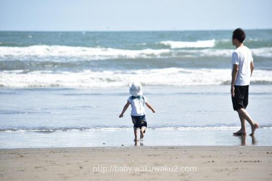 片貝海水浴場 九十九里浜 海 子連れ 4歳